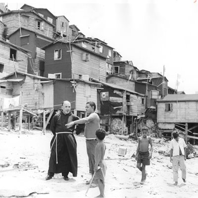 Capuchin missionary with some Puerto Rican children