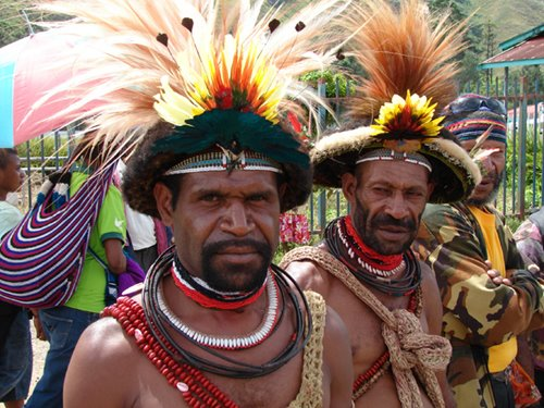 Papua New Guinea men in tribal dress