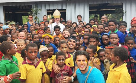 Bishop Don with congregation of Mendi